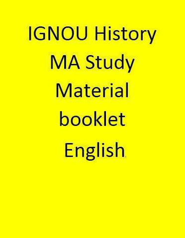 IGNOU History MA Study Material booklet - English