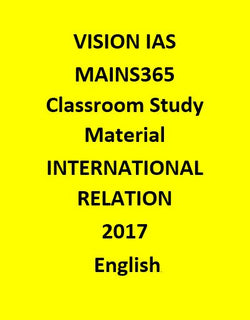 Vision IAS INTERNATIONAL RELATION MAINS365  October 2016 – June 2017