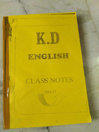 K.D. Campus Coaching Handwriiten Class Notes Of English by Neetu Singh