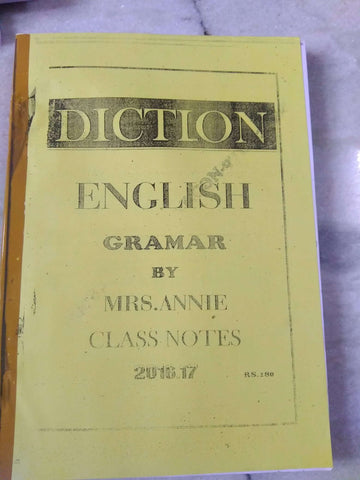 Mrs. Annie (Diction Coaching) Handwritten Class Notes Of English Grammer
