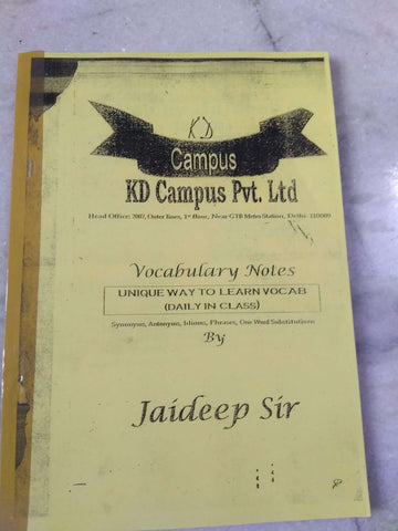 K.D. Campus Coaching Printed Notes Of English Vocabulary by Jaideep Sir
