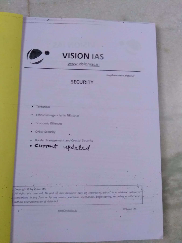 Internal Security Printed Notes By Vision IAS-English