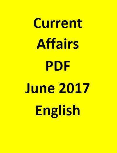 Current Affairs Objective Questions-June 2017-English
