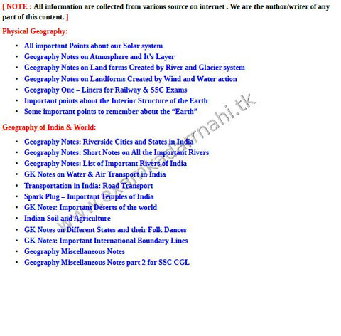 Complete Geography Short Notes Free Soft Copy