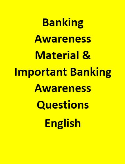 Banking Awareness Material & Important Banking Awareness Questions - English