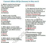 Current Affair MCQs (January to May 2017) - English