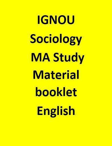 IGNOU Sociology MA Study Material booklet - English