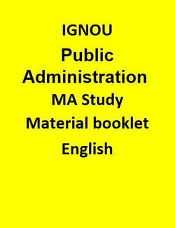 IGNOU Public Administration MA Study Material booklet - English