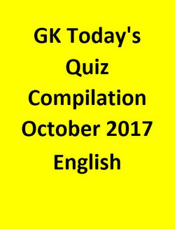 GK Today's Quiz Compilation october 2017 - English