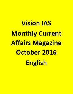 Vision IAS Monthly Current Affairs Magazine – October 2016-English