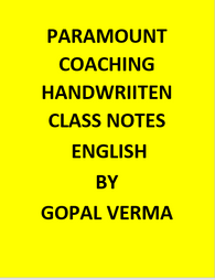 Paramount Coaching Handwriiten Class Notes Of English by Gopal Verma