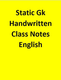 Static Gk Handwritten Class Notes - English
