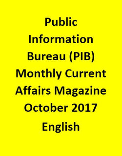 Public Information Bureau (PIB) Monthly Current Affairs Magazine – October 2017-English