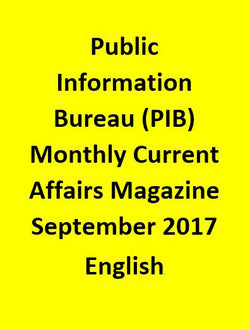 Public Information Bureau (PIB) Monthly Current Affairs Magazine – September 2017-English