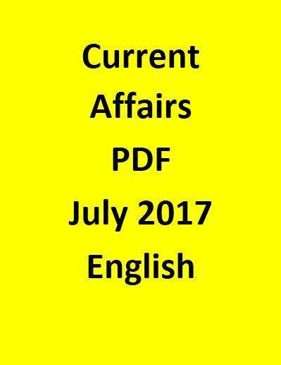 Current Affairs Objective Questions -July 2017-English