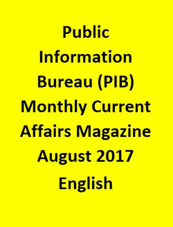 Public Information Bureau (PIB) Monthly Current Affairs Magazine – August 2017-English