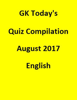 GK Today's Quiz Compilation August 2017 - English
