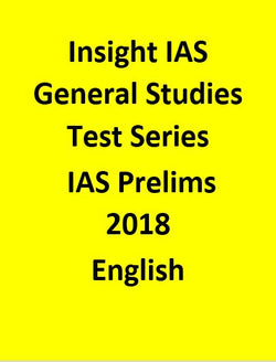 Insight  IAS General Studies Test Series For IAS Prelims 2018 - English