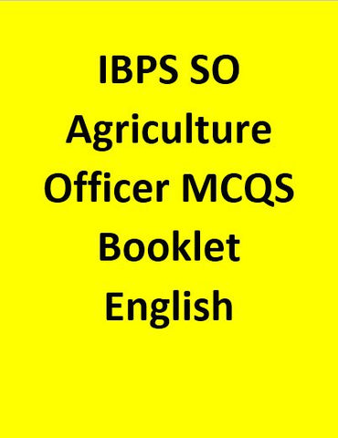 IBPS SO Agriculture Officer MCQS Booklet - English