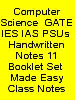Computer Science  GATE IES IAS PSUs  Handwritten Notes 11 Booklet Set  Made Easy Class Notes N
