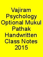 Vajiram Psychology Optional Mukul Pathak Handwritten Class Notes 2015 N