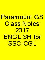 Paramount GS Class Notes 2017 ENGLISH for SSC-CGL N
