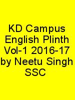 KD Campus English Plinth Vol-1 2016-17 by Neetu Singh SSC N