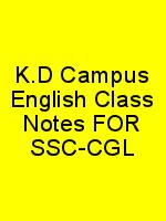 K.D Campus English Class Notes FOR SSC-CGL N