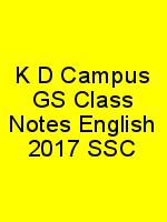 K D Campus GS Class Notes English 2017 SSC N