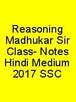 Reasoning Madhukar Sir Class- Notes Hindi Medium 2017 SSC N