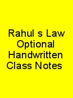 Rahul's Law Optional Handwritten Class Notes N