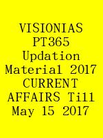 VISIONIAS PT365 Updation Material 2017 CURRENT AFFAIRS Till May 15 2017 N