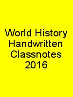 World History Handwritten Classnotes 2016 N