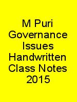 M Puri Governance Issues Handwritten Class Notes 2015 N