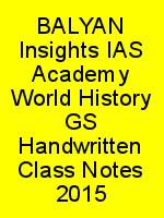 BALYAN Insights IAS Academy World History GS Handwritten Class Notes 2015 N