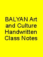 BALYAN Art and Culture Handwritten Class Notes N
