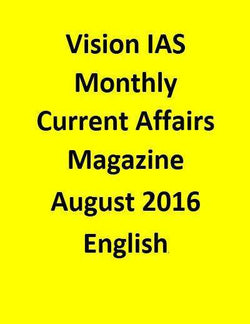 Vision IAS Monthly Current Affairs Magazine – August 2016-English