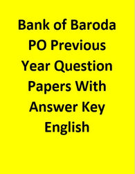 Bank of Baroda PO Previous Year Question Papers With Answer Key - English