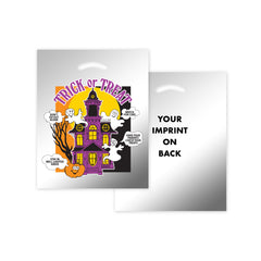 STOCK DESIGN HALLOWEEN DIE CUT BAG - HAUNTED HOUSE (SILVER REFLECTIVE) - 13HH1215