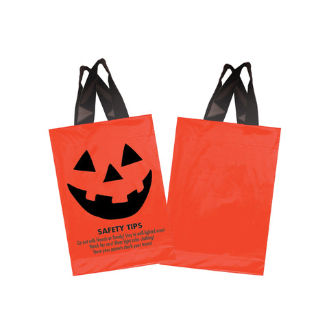 STOCK DESIGN HALLOWEEN SOFT LOOP SHOPPER BAG - PUMPKIN FACE WITH SAFETY TIPS - 13SL1015