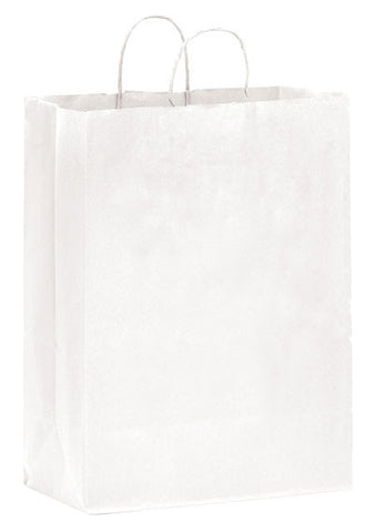 White Kraft Twisted Paper Handle Shopper in Bulk, Wholesale - 1W13717