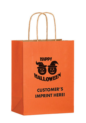 Matte Color Twisted Paper Handle Shopper with Pumpkins Bulk Wholesale - 4M8410P
