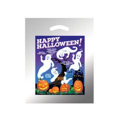 STOCK DESIGN HALLOWEEN DIE CUT BAG - GHOSTS WITH PUMPKINS (SILVER REFLECTIVE) - 13HG1215