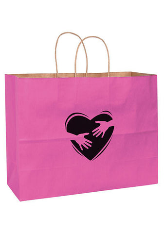 Pink Awareness Matte Color Twisted Paper Handle Shopper in Bulk Wholesale - 4M16613BCA