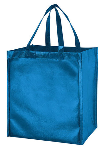 Metallic Gloss Designer Grocery Tote Bag with Smooth Finish & Poly Board Insert Bulk Wholesale - LM131015