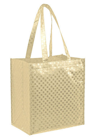 Metallic Gloss Designer Grocery Tote Bag with Patterned Finish & Poly Board Insert Bulk Wholesale - LP12813