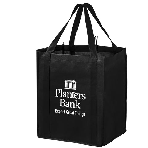 Non Woven Wine and Grocery Combo Tote Bag with Poly Board Insert in Bulk Wholesale - WG131015