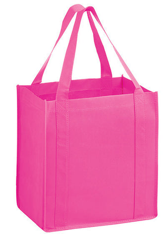 Awareness Pink Heavy Duty Non-Woven Grocery Tote Bag with Poly Board Insert - Y2KG12813BCA