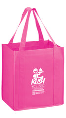 AWARENESS PINK HEAVY DUTY NON-WOVEN GROCERY TOTE BAG WITH POLY BOARD INSERT-CUSTOMIZED - Y2KG131015BCA