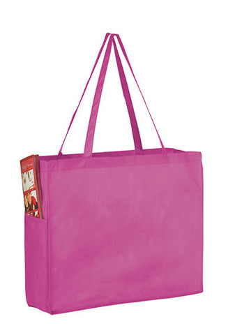Awareness Pink Non-Woven Over-the-Shoulder Tote Bag with Side Pockets - Y2KP16612BCA
